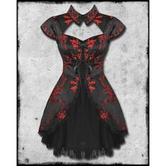 BLACK RED CHINESE FLORAL ROSE SATIN GOTH STEAMPUNK MINI DRESS ❤ liked on Polyvore featuring dresses, red dress, gothic lolita dress, satin dress, short dresses and red satin dress