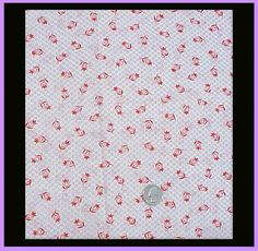 Vintage Red Tulips Cotton Sewing Quilting Fabric Small Print 4 + yards