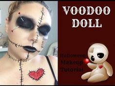 Voodoo Halloween Makeup, Diy Voodoo Doll Costume, Voodoo Doll Makeup, Haloween Makeup, Diy Doll Makeup, Facepaint Halloween, Halloween Contacts, Costume Makeup, Diy Girls Costumes
