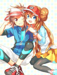 Pokémon - Kyouhei and Mei art by Ruu (Pixiv 590608) (Sankaku Channel)