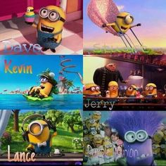 Meet the minions: Dave, Stuart, Kevin, Jerry, Lance and the evil purple minion