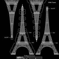 Printable 3D Black And White Eiffel Tower PDF.  Inexpensive decoration you can make yourself!