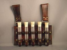 Leather Vial Holder  Cross  Brown  by IsilWorkShop on Etsy