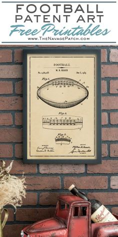 Home Design Drawing Vintage Football Patent Art Free Printables Industrial Home Design, Vintage Industrial Decor, Industrial House, Vintage Home Decor, Industrial Style, Vintage Sports Decor, Vintage Sports Nursery, Industrial Pipe, Vintage Ideas