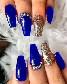 The Best Ideas That Suit Everyone coffin nails royal blue - Coffin Nails The Best Coffin Nails Ideas That Suit Everyone Blue Gold Nails, Gold Acrylic Nails, Blue Coffin Nails, Marble Nails, Stiletto Nails, Gel Nails, Cute Acrylic Nail Designs, Nail Art Designs, Royal Blue Nails Designs