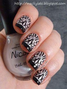 Black and White Stamping damask design nail art