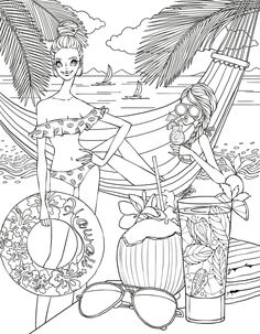 Beach side coloring page