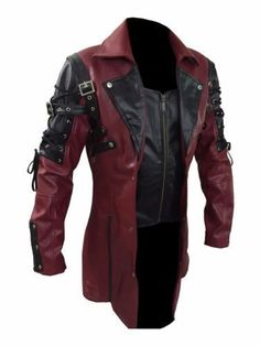 Mens  Goth Matrix Trench Coat Steampunk Gothic Real Leather-fast ship #byfashionpvt #BasicCoat Motorcycle Jacket, Leather Jacket, Jackets, Fashion, Studded Leather Jacket, Moda, Riders Jacket, Moto Jacket, Leather Jackets