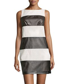 Striped Perforated Faux-Leather Dress, Black/White, Black/Of-Wht - muse