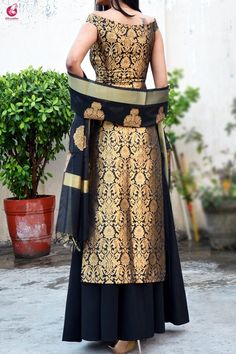 Buy Black Brocade Padded off Shoulder Kurta Online in India | Colorauction