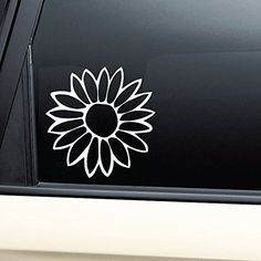 Flower Vinyl Decal Sticker - White- Die Cut Decal Bumper Sticker For Windows, Cars, Trucks, Laptops, Etc.
