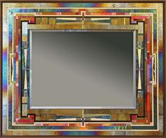 Red Line by Thomas Meyers - Mosaic Glass Mirror