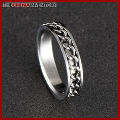 5MM SIZE 7 STAINLESS STEEL CURB CHAIN RING R0316 Black Diamond, Diamond Rings, Cheap Jewelry Boxes, Stainless Steel Rings, Best Jewelry Stores, Band Rings, Rings For Men, Fashion Jewelry, Wedding Rings