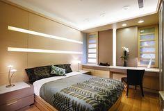 paneles de madera en el dormitorio al estilo minimalista