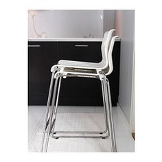 Glenn Bar Stool, White, Chrome Plated