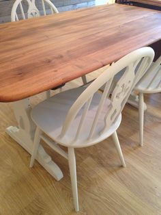 Ercol refectory table and fleur de lys chairs. Ercol Chair, Ercol Furniture, Dining Room Furniture, Ercol Dining Table, Table And Chairs, Tables, Painted Chairs, Painted Furniture, Dining Table Upcycle