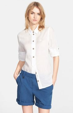 Burberry Women's Brit Roll Sleeve Ramie Shirt | Top and Clothing