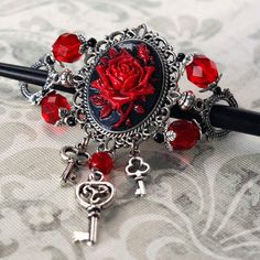want: La Rose Gothique - Black and Red Cameo Hair Stick Barrette