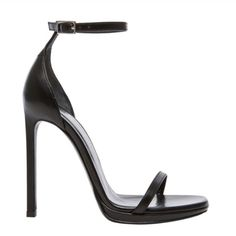 """Saint Laurent Jane Sandal A slender ankle strap lends a sensual touch to a silky calfskin sandal rich with understated sophistication. A subtle, streamlined silhouette and a tall, slim heel refine the look, while a delicate goldtone buckle adds a perfect hint of gleam.  4 1/4"""" heel.  Adjustable ankle strap with buckle closure.  Leather upper, lining and sole.  By Saint Laurent; made in Italy. Saint Laurent Shoes Heels"""