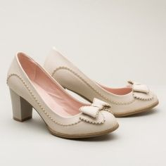 Shirley 1940s Pumps (Ivory)