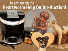 """All righty, online friends: It's time to get yer bids on again! We just kicked off our latest online auction entitled """"Heartworm Help."""" As its name implies, this one will help us cover the costs of treating three more of our rescues (Zeus, Candy and Ernie) for heartworms and getting them ready for their forever homes. The auction features tons of great JRT collectibles, several pieces of beautiful jewelry, a swag bag for dog lovers, and a Keurig brewing system. Go! Sit! Bid!"""