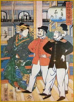 1861 芳虎「武州横浜八景之内 岩亀楼夜の雨」 Rainy night at Gankirou (licensed quarters for…