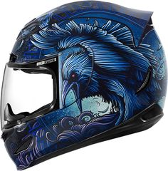 Icon Airmada Ravenous motorcycle helmet has a unique style & will bring you luck on all your riding travels Blue Motorcycle Helmets, Motorcycle Riding Gear, Motorcycle Tank, Racing Helmets, Motorcycle Style, Motorcycle Outfit, Agv Helmets, Yamaha R6, Airbrush