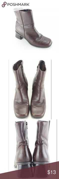 Naturalizer boots Shoe Type: Boots Shoe Style: Casual Color: Brown Print: Solid Material: Leather Upper US Shoe Size: 7m Toe: Square toe Measurements: Insole (In): 10 Width (In): 3.5 Heel (In): 2 Leg Opening (In): 5 Shaft Height (In): 8 Heel Height: Med (1 3/4 In. To 2 3/4 In.) Naturalizer Shoes Ankle Boots & Booties