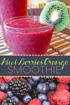 A really quick and easy smoothie recipe that is refreshing and your whole family will love. Try this with fresh or frozen fruits and make sure to serve cold Easy Smoothie Recipes, Dessert Recipes, Desserts, Smoothies, Lunches And Dinners, Us Foods, Kiwi, Berries, Smoothie