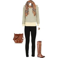 Burberry scarf Striped sweater Leggings Purse & boots