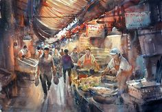 """Shop in Yaowarat 2"" (watercolor, 36x50 cm)"