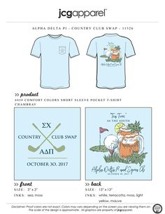 JCG Apparel designs and prints custom t-shirts and apparel. Create high quality shirts for your event, charity, sorority, fraternity, or other organization. Sorority And Fraternity, Sorority Shirts, Golf Shirts, Alpha Delta, Tau Gamma, Custom Design Shirts, Shirt Designs, Greek Shirts, Bid Day
