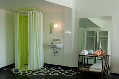 Lime color and space saving shower