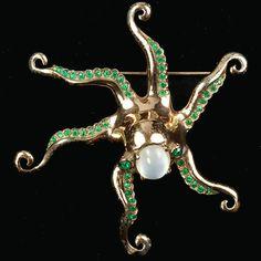 Nettie Rosenstein Sterling Gold Opal and Emeralds Octopus Pin