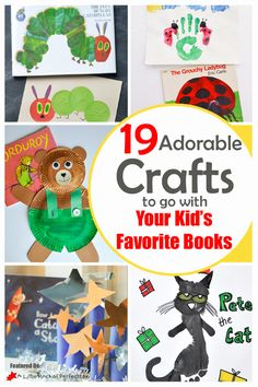 We love book themed crafts and activities so I am so thrilled about today's post because it is filled with the cutest ideas including Chicka Chicka Boom Boom, The Rainbow Fish, The Hungry Caterpillar, Pinkalicious Pete the Cat, and more! Preschool Books, Preschool Crafts, Kindergarten Literacy, Early Literacy, Toddler Activities, Preschool Activities, Reading Activities, Toddler Crafts, Crafts For Kids
