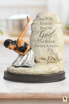 This beautifully crafted African American figurine is a breathtaking reminder of all that God can do in and through a heart that is fully submitted to Him. African American Figurines, Black Figurines, Sword Of The Spirit, Greeting Card Companies, Black Mother, Home Organization Hacks, Latte Mugs, Anything Is Possible, Life Motivation