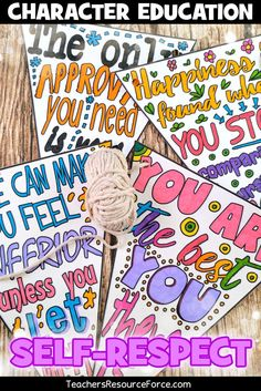 Self-Esteem Inspirational Quote Coloring Page Pennants /resourceforce/