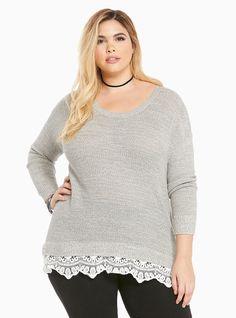 Shoptagr   Lace Trim Sweater by Torrid #plussize #dress #style #outfit #trend #onlineshop #shoptagr