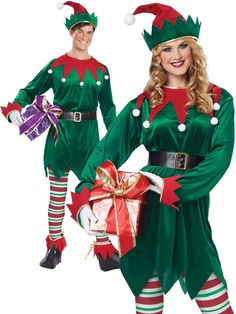 Includes green velvet tunic with red trim, matching hat with white pompom, belt, printed striped leggings, and elf shoe covers. Football Halloween Costume, Christmas Elf Costume, Halloween Costumes, Diy Costumes, Adult Costumes, Santa Costumes, Costume Ideas, Mrs Claus Outfit, Elf The Musical