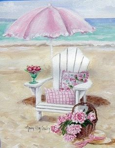 """Strawberries"" by Mary Kay Crowley: another soft place to fall. Decoupage, Art Carte, Illustration Art, Illustrations, Beach Scenes, Beach Art, Pretty In Pink, Art Drawings, Projects To Try"