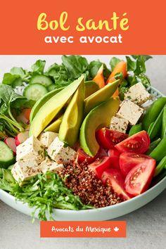Envie d'une idée de recette santé et végétarienne? Ce bol plein de légumes verts et de saveurs est le déjeuner ou le dîner le plus sain qui soit! Le Diner, Cobb Salad, Meal Prep, Prepping, Favorite Recipes, Meals, Food, Marinated Tofu, Cherry Tomatoes