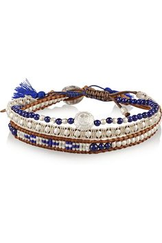 Chan Luu|Set of three silver and lapis beaded bracelets|NET-A-PORTER.COM