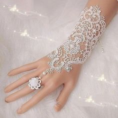 Fingerless Lace Wedding Gloves New Hot Sale Fashion White,Ivory Bride Bridal Gloves With Ring Bracelet Bridal Cuff, Bridal Lace, Pearl And Lace, Ivory Pearl, Ring Armband, Wedding Gloves, Lace Gloves, Dress Gloves, Crochet Gloves