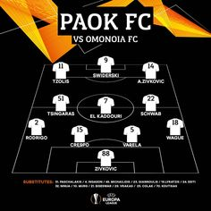 #Starting11 Our starting line up against @omonoiafootball at GSP Stadium #OMOPAOK #UEL @europaleague Group Stage - Matchday 5 #PreGame #PamePAOKARA