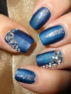 Wendy's Delights: Blue & Silver Mani using 3D Nail Art Rhinestone Gems from Lady Queen