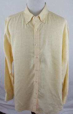 #theSmartShoppe Men's T. Harris London Mens XXL 2XL Yellow Linen Window Pane Long Sleeve Shirt  #THarris #
