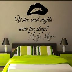 Wall Decals Marilyn Monroe Quote Who Said Nights Were For Sleep Mural Vinyl Decal Sticker Living Room Interior Design Bedroom Decor KG848 by WallDecalswithLove on Etsy