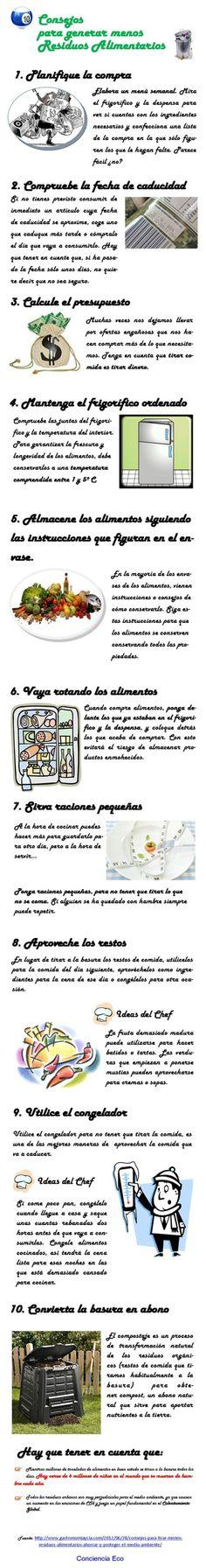 10 consejos caseros para generar menos residuos alimentarios #infografia