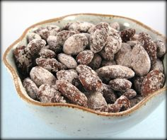 Cocoa roast almonds.  I think I will try adding liquid Stevia to the egg white mixture instead of adding powdered sugar to the cocoa mixture.