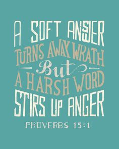 A soft answer turns away wrath, But a harsh word stirs up anger. [Proverbs I was just thinking if this verse today. The Words, Harsh Words, Cool Words, Great Quotes, Quotes To Live By, Inspirational Quotes, Motivational, Scripture Quotes, Bible Scriptures